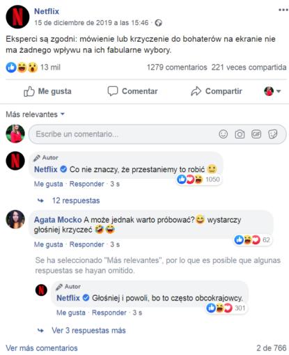 Strategia marki Netflix, wpis z Facebooka i dyskusja