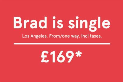Brad jest singlem. Reklama Norwegian